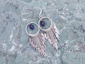 Silver fan chandelier earrings with Amethyst for women, healing stone jewelry