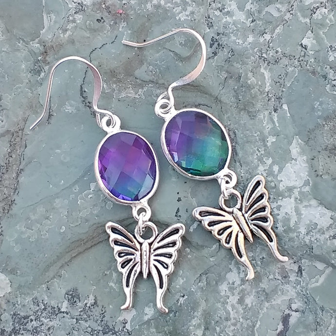Purple and green Aura Quartz earrings with silver butterflies, earrings for women, healing stone jewelry