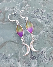 Load image into Gallery viewer, Silver crescent moon earrings with purple and yellow Aura Quartz for women, healing stone jewelry