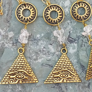 Gold, and clear Quartz layered necklaces, Egyptian pyramid, Eye of Horus necklace, gold sun necklace, healing stone jewelry for women