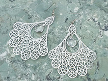 Load image into Gallery viewer, Silver stainless steel filigree earrings with clear crystal Quartz, healing stone jewelry, earrings for women, big earrings