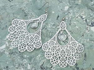 Silver stainless steel filigree earrings with clear crystal Quartz, healing stone jewelry, earrings for women, big earrings