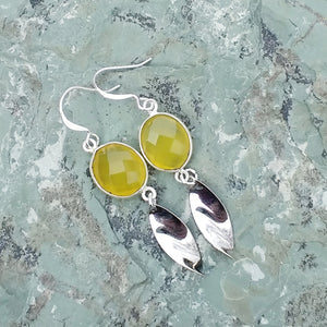 Yellow Chalcedony, and silver drop earrings for women, healing stone jewelry