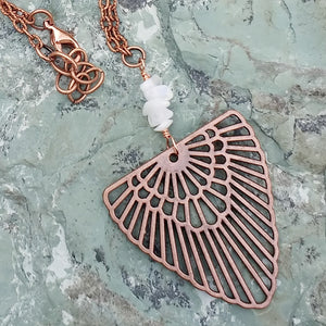 Copper layered necklaces with Rainbow Moonstone for women, layering necklace, moon necklace, healing stone jewelry