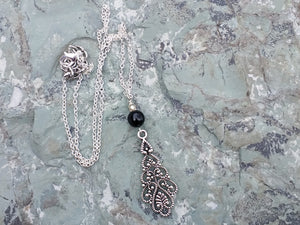 Silver layered necklaces with Black Onyx beads for women, healing stone jewelry