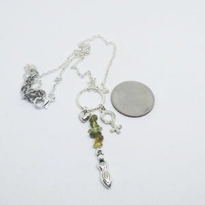 Silver goddess necklace with green Garnet for women, healing stone jewelery, Venus symbol necklace
