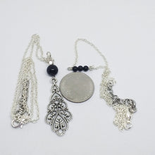 Load image into Gallery viewer, Silver layered necklaces with Black Onyx beads for women, healing stone jewelry