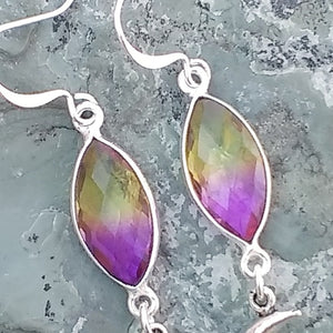 Silver crescent moon earrings with purple and yellow Aura Quartz for women, healing stone jewelry