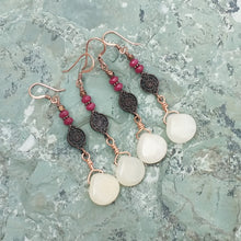 Load image into Gallery viewer, Copper, Quartz, and Jade earrings for women, healing stone jewelry