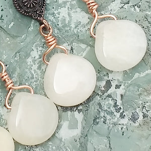 Copper, Quartz, and Jade earrings for women, healing stone jewelry