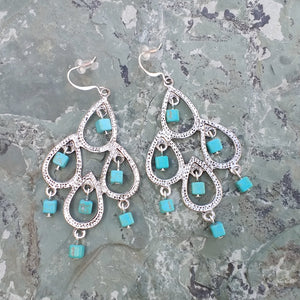 Silver chandelier earrings with turquoise Magnesite for women, healing stone jewelry