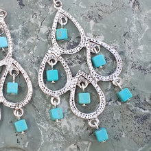 Load image into Gallery viewer, Silver chandelier earrings with turquoise Magnesite for women, healing stone jewelry