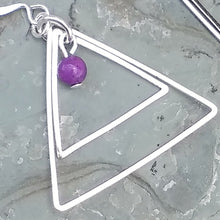 Load image into Gallery viewer, Silver triangle and purple Crazy Lace Agate earrings for women, healing stone jewelry
