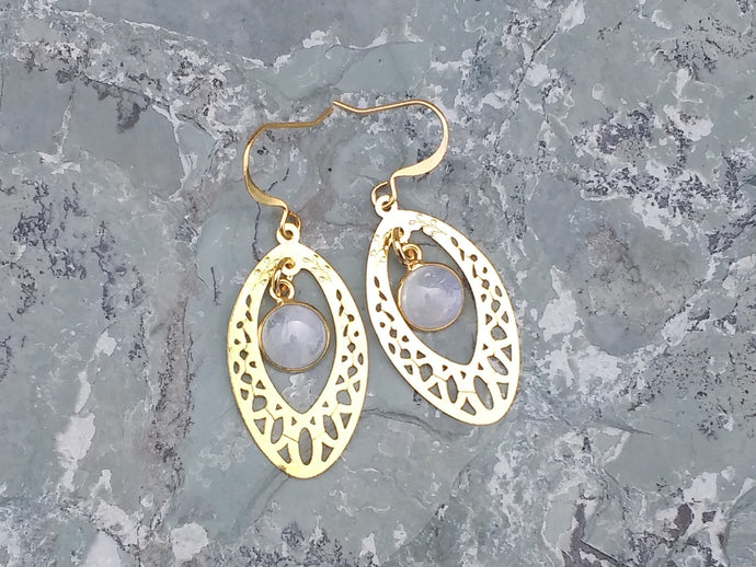 Gold and rainbow Moonstone earrings for women, healing stone jewelry