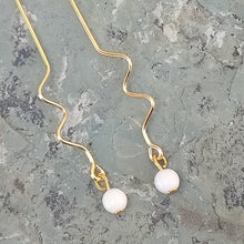 Load image into Gallery viewer, Gold zig zag earrings with white mountain jade for women, healing stone jewelry