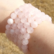 Load image into Gallery viewer, Rose Quartz beaded stretch bracelet for women, healing stone jewelry