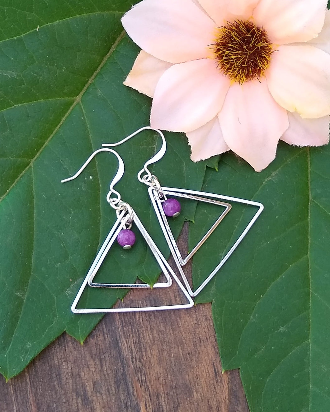 Silver triangle and purple Crazy Lace Agate earrings for women, healing stone jewelry