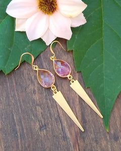 Morganite and gold drop earrings for women, healing stone jewelry