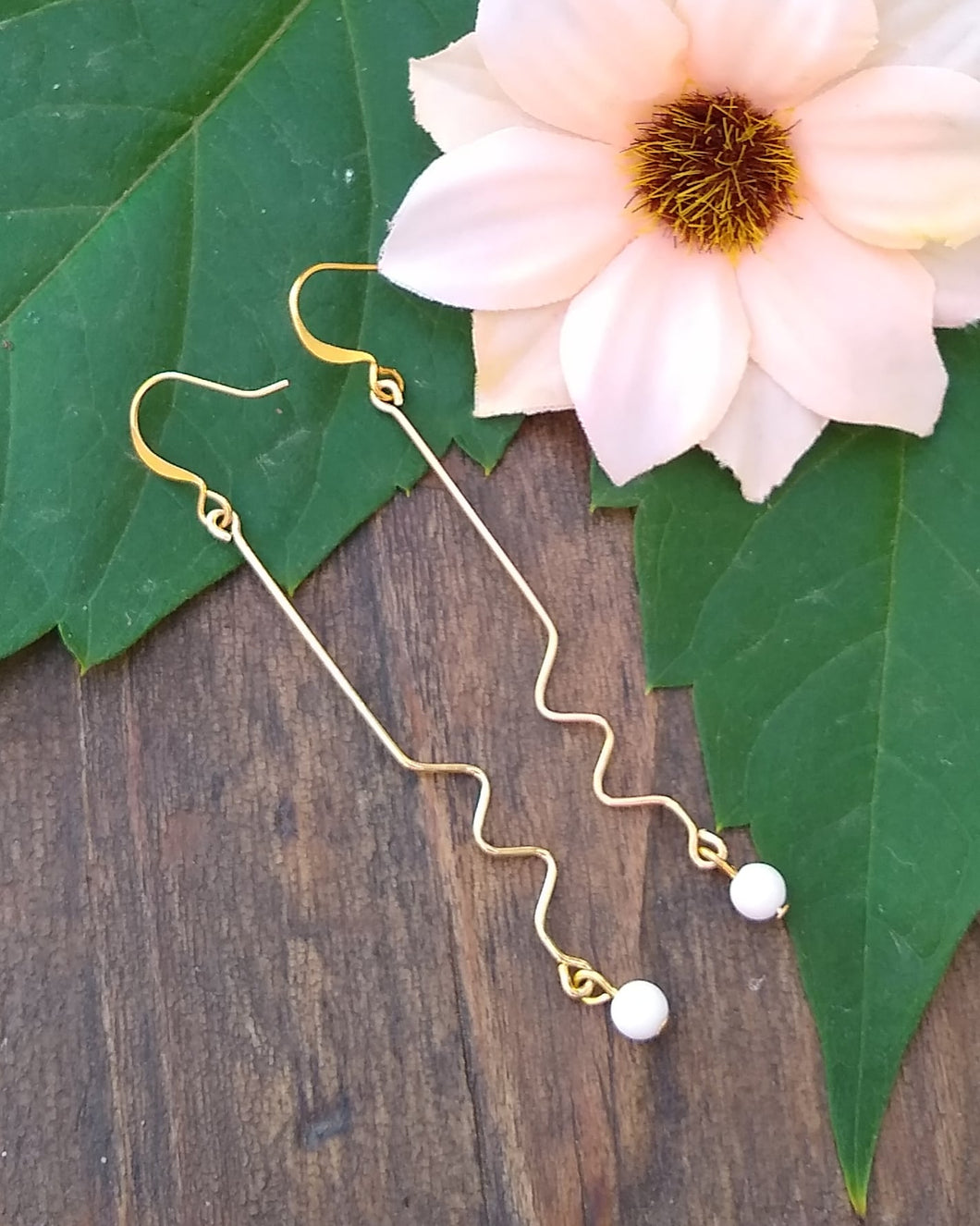 Gold zig zag earrings with white mountain jade for women, healing stone jewelry