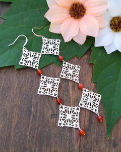 Silver, and Carnelian filigree drop earrings for women, healing stone jewelry