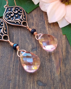 Copper drop earrings with rose gold Quartz, and blue Jade, healing stone jewelry