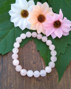 Rose Quartz beaded stretch bracelet for women, healing stone jewelry