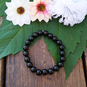 Black Onyx beaded stretch bracelet for women, healing stone jewelry