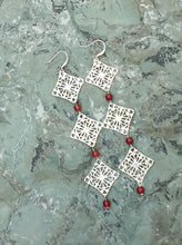 Load image into Gallery viewer, Silver, and Carnelian filigree drop earrings for women, healing stone jewelry