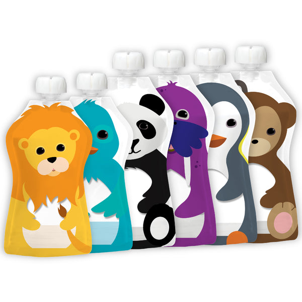 Squooshi Reusable Food Pouch | Assorted 6 Pack | 2 sizes