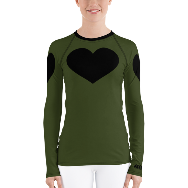 Black Heart Long Sleeve Rash Guard - Military Green