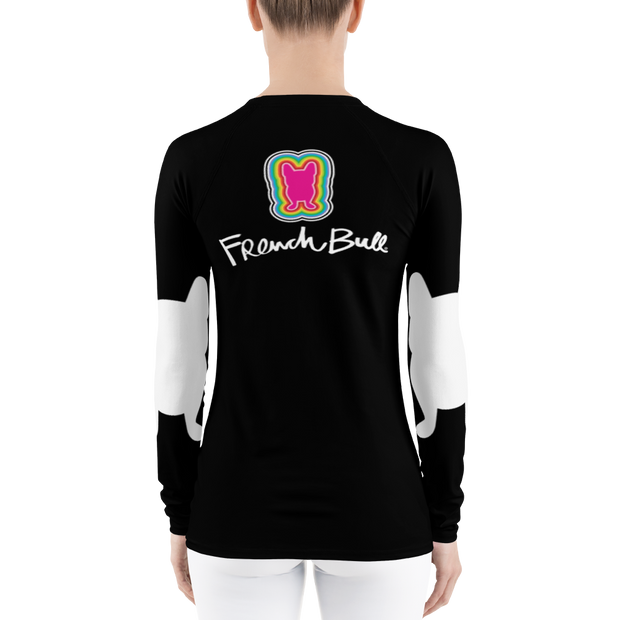 Frenchie Long Sleeve Rash Guard - Black & White Happy