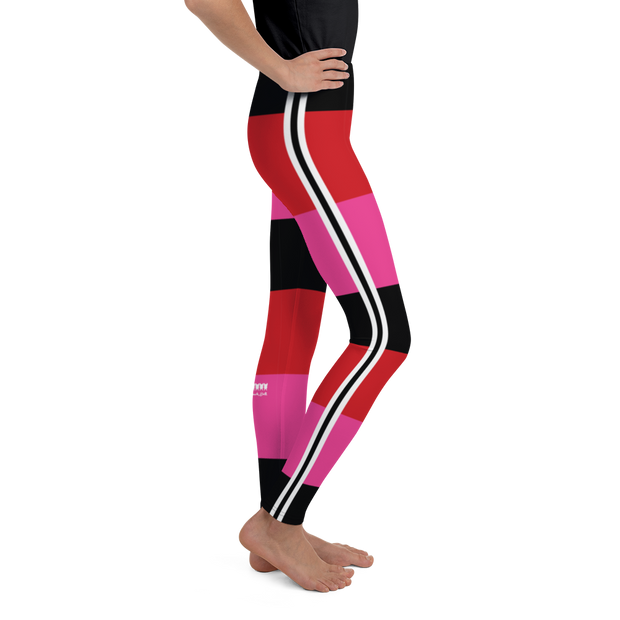 Riviera Stripe Hot Pink Girl's Leggings