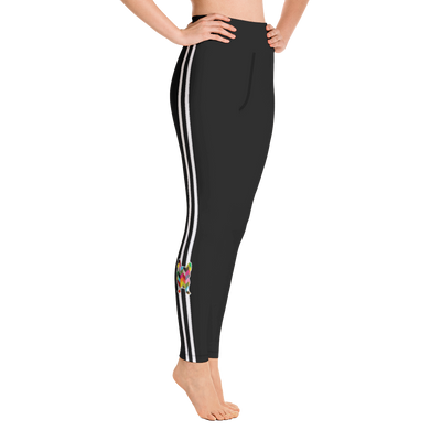 Black Racer side- stripe Yoga Leggings