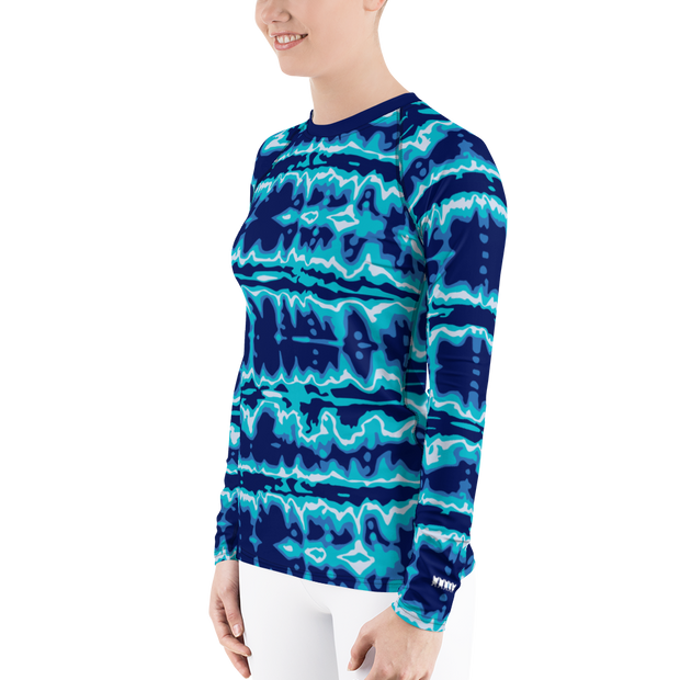 Tie Dye Azure Women's Rash Guard