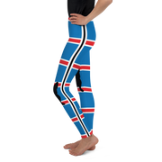 Italia Stripe Royal Blue French Bull Dog Girl's Leggings
