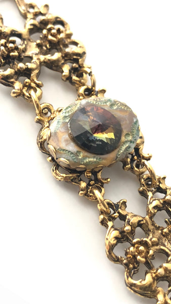 Stunning 1960s Vintage Gold Plated Link Bracelet with Faceted Gemstones Statement Piece