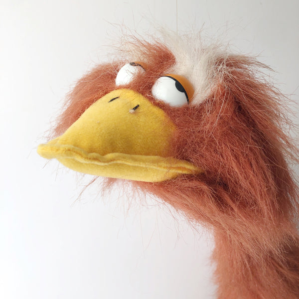 Doozy Bird Marionette Puppet / Brown Funny Face Bird / Vintage 80s 90s Walking Furry Animal