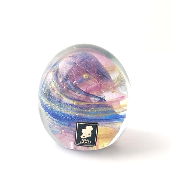 KERRY GLASS of Ireland / Paperweight / Galaxy Swirl / 80s Vintage / Hand Blown Paper Weight