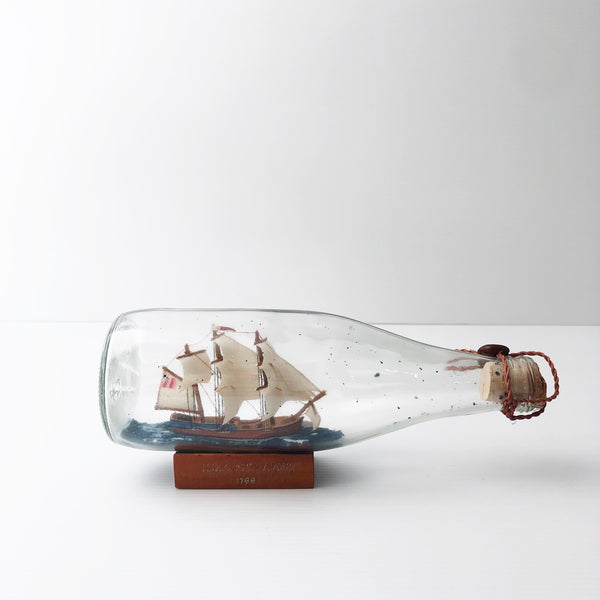 Vintage SHIP in a BOTTLE with Wooden Base / HMS Endeavour 1768 / Nautical Marine Collector