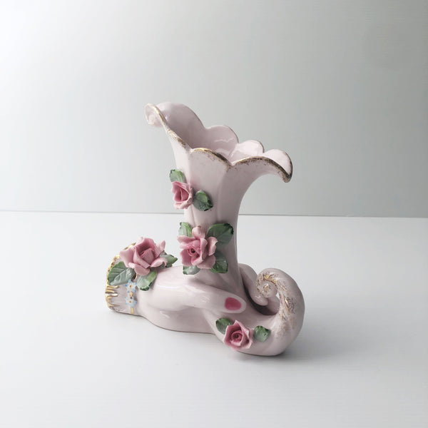 BEAUTIFUL  Hand Holding a Cornucopia with ROSES Vase /Romantic Feminine Delicate Flower Pink Tones with Gold