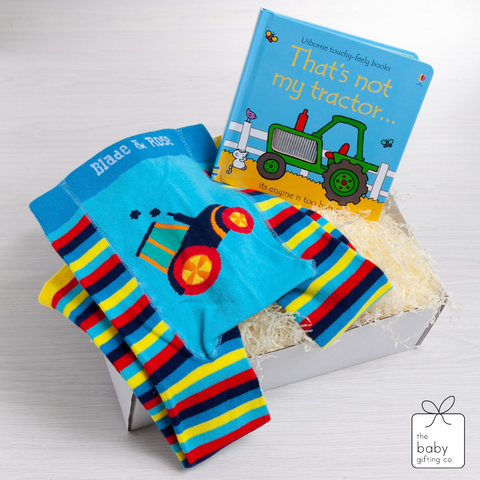 Little Tractor Book & Legging Gift Set | The Baby Gifting Co