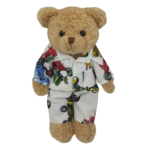 teddy bear wearing tractor pyjamas