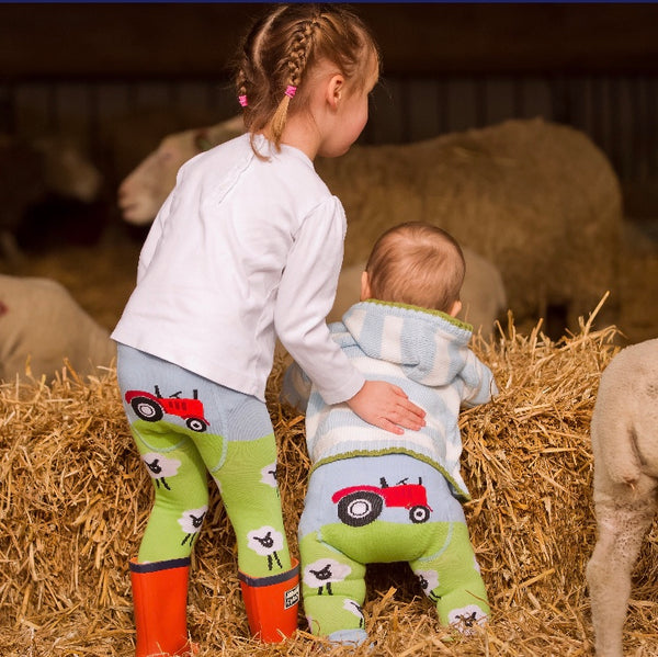 babies wearing sheep leggings