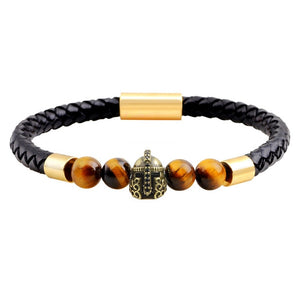 ROMAN HELMET BLACK LEATHER BRACELET
