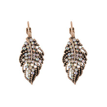Load image into Gallery viewer, LEAF EARRINGS ANCIENT CRYSTAL RHINESTONE