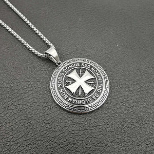 Stainless Steel Maltese Templar Cross Necklace