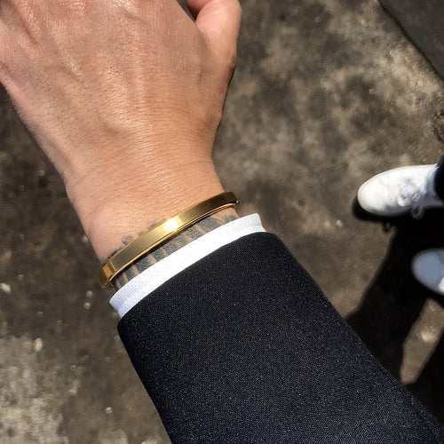 STAINLESS STEEL, GOLD & BLACK CUFF BRACELETS