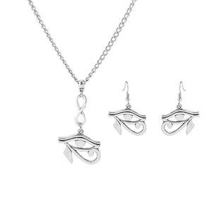 SILVER EGYPTIAN HORAS EYES NECKLACE & EARRINGS