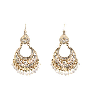 LUXURY VINTAGE TASSLE EARRINGS RHINESTONE AND PEARL