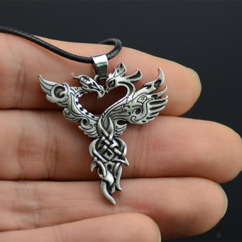 Ancient Viking Necklace Dragon Phoenix